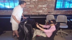 iRacing with Logitech wheel & Oculus Rift (Photo by Jeff Bail)